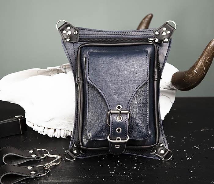 BAG369-5 Мужская набедренная сумка из кожи черного и синего цветов фото 02
