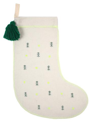 Рождественский носок с вышитыми деревьями, войлочный