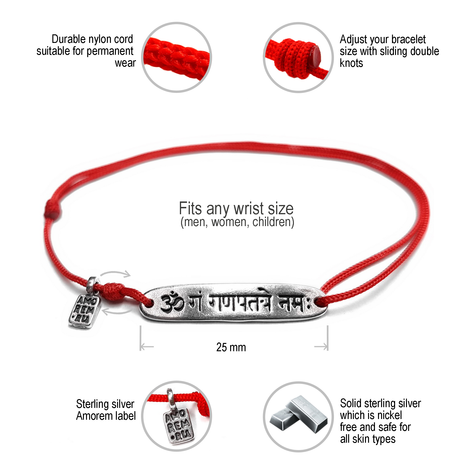 Ganesh Mantra Bracelet, sterling silver