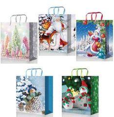 Бумажный подарочный новогодний пакет 22х31х10 (Premium к-т 40 шт)