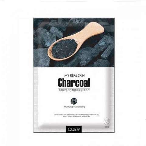 Тканевая маска для лица древесный уголь COS.W My Real Skin Charcoal Facial Mask