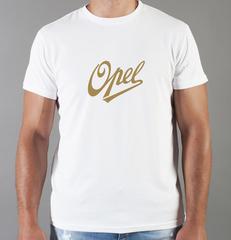 Футболка с принтом Опель (Opel) белая 005