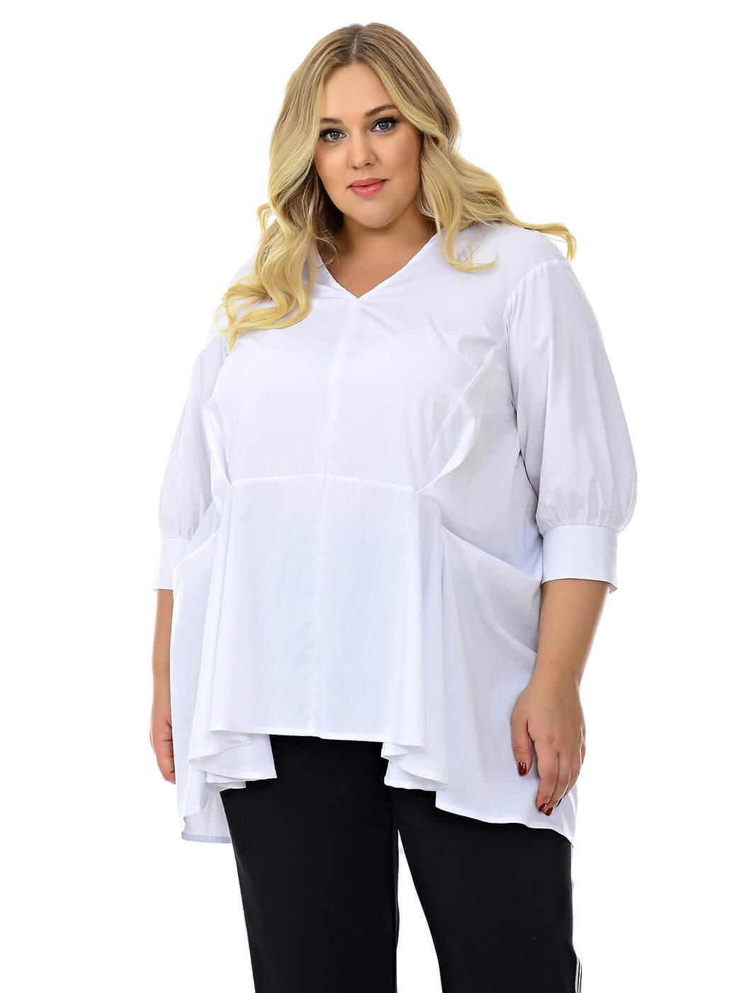Белая офисная блузка 74 размера