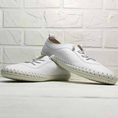 Белые кроссовки женские кожаные мокасины Rozen 115 All White.