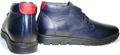 Зимние ботинки мужские кожаные. Мужские термо ботинки на шнуровке. Синие ботинки чукка Cabani BlueTermo.