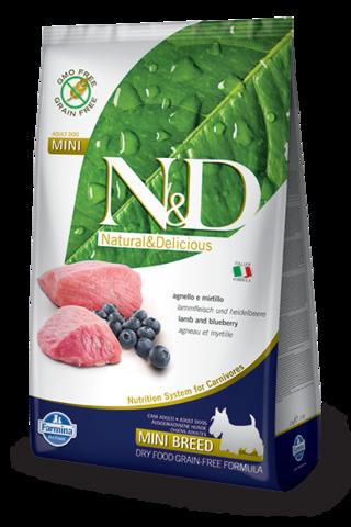 Сухой беззерновой корм Farmina N&D Grain Free Lamb&Blueberry Adult Dog Mini