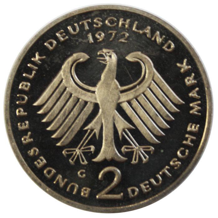2 марки. 20 лет ФРГ - Конрад Аденауэр. (G) Германия. Медноникель. 1972 г. PROOF