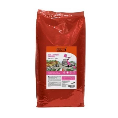 10 кг. Dailycat Casual Line Adult Beef, Pork and Veggies корм для кошек с говядиной, свининой и овощами