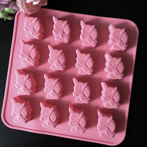Силиконовая форма для шоколада ЕДИНОРОГ 16в1 (розовый силикон) (20х35мм)