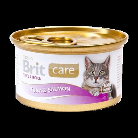 Brit Care Cat Консервы для кошек с тунцом и лососем (Банка)