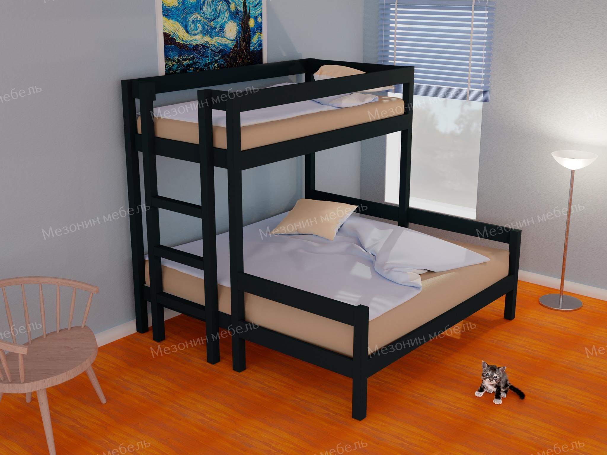 Кровать двухъярусная трехспальная из массива Эконом