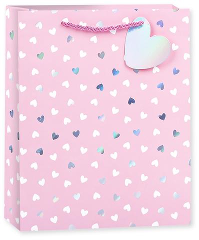 Пакет подарочный, Конфетти сердец, Розовый, Голография, 23*18*10 см