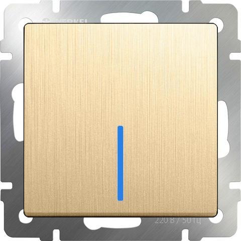 Werkel Выключатель W1112110 (WL10-SW-1G-2W-LED) шампань рифленый  (1-кл прох с подсв.)