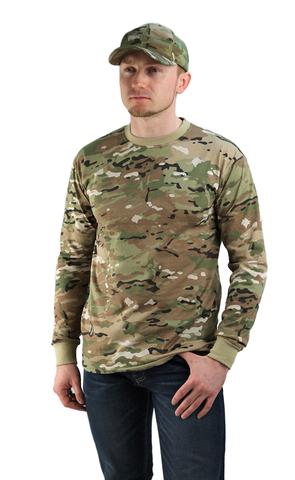 Купить камуфляжную футболку Мультикам с длинным рукавом - Магазин тельняшек.ру 8-800-700-93-18