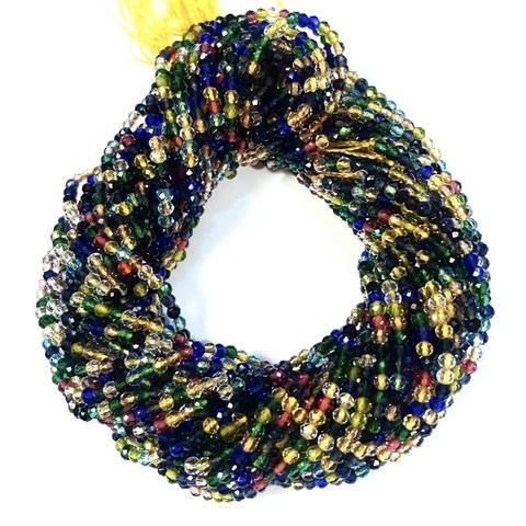 Бусины шпинель (имитация) граненая 2 мм цвет разноцветный цена за 185 бусин (~37 см)