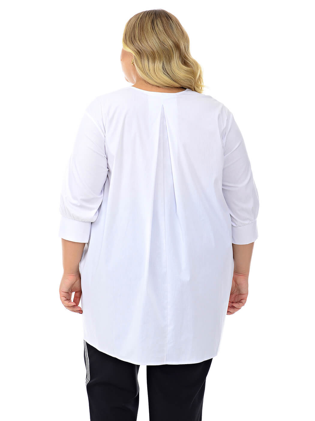 Белая асимметричная туника-рубашка