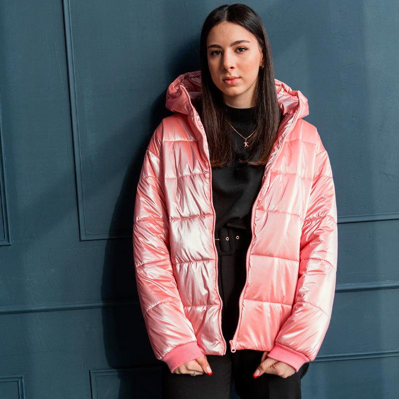 Демісезонна підліткова куртка для дівчинки в рожевому кольорі