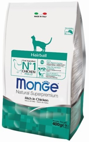 Купить Monge Cat Hairball корм для кошек для выведения шерсти 400 гр