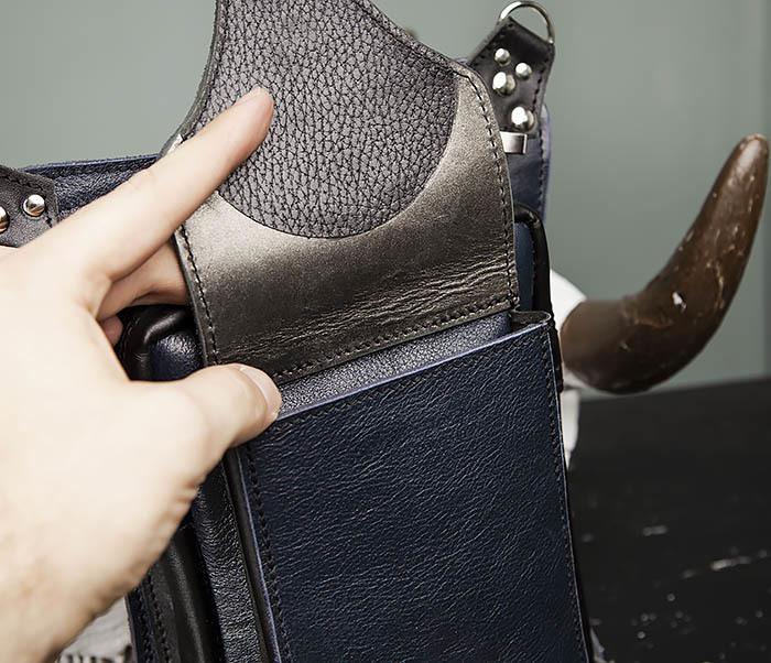 BAG369-5 Мужская набедренная сумка из кожи черного и синего цветов фото 06