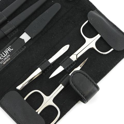 Маникюрный набор Dewal, 6 предметов, цвет черный, кожаный футляр