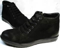 Кожаные ботинки на шнуровке зимние мужские Luciano Bellini 71783 Black.