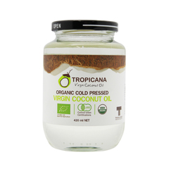 Кокосовое масло в стекле , TROPICANA OIL, Organic Cold Pressed Virgin Coconut Oil, 420мл