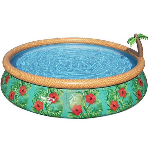 Надувной круглый бассейн Bestway 57416 Paradise Palms (457x84 см) с картриджным фильтром / 25325