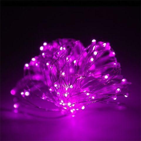 Гирлянда из тонкой проволоки роса сиреневый цвет 100 LED