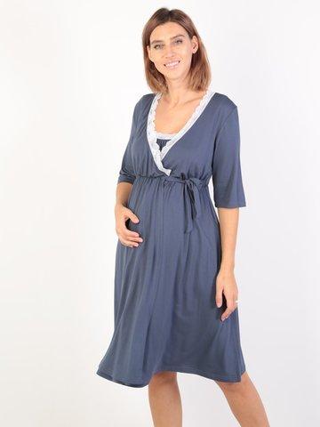 Euromama/Евромама. Комплект для беременных и кормящих с коротким рукавом и кружевом вискоза, джинс вид 1