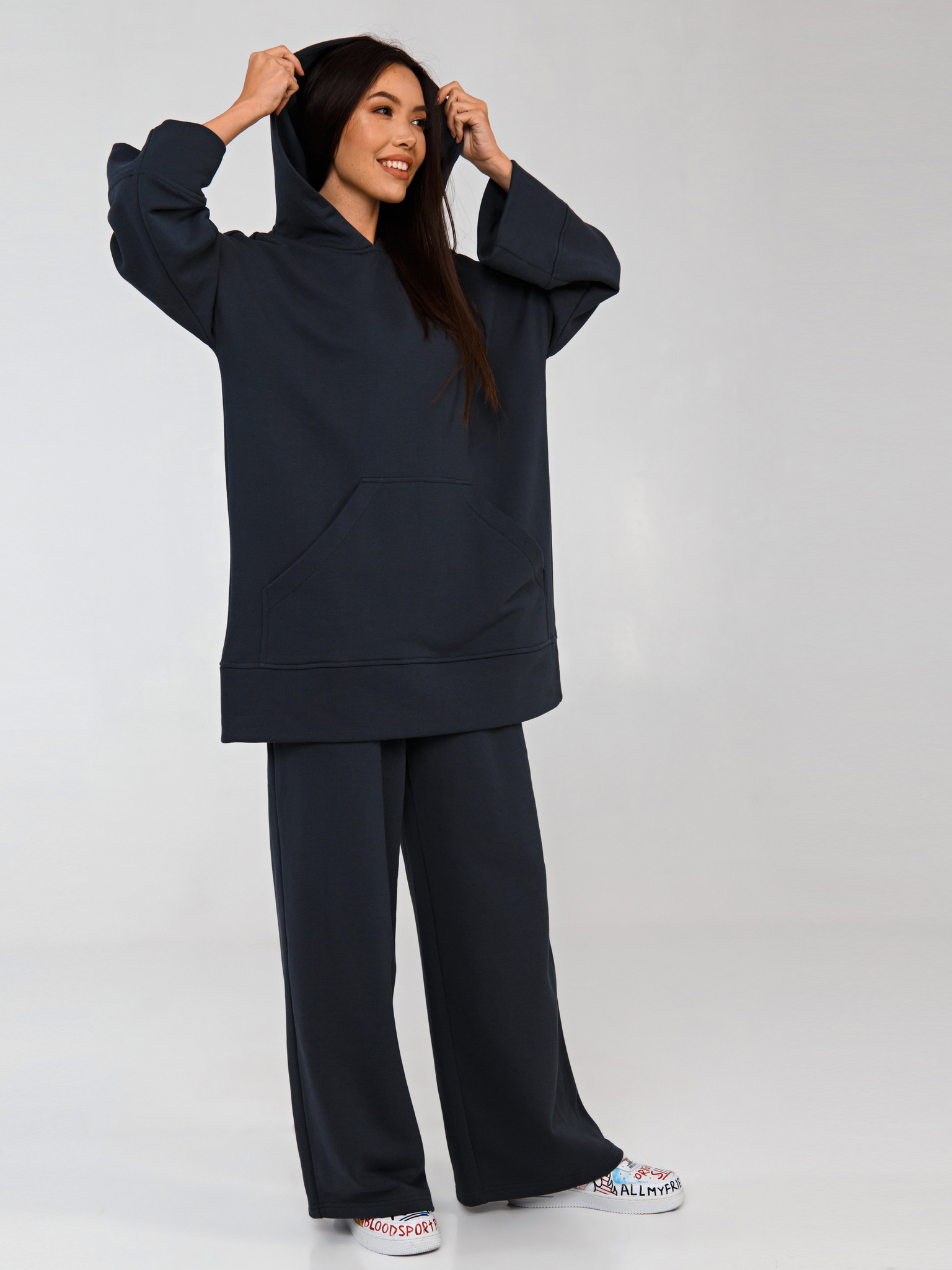 Костюм трикотажный серый YOS от украинского бренда Your Own Style