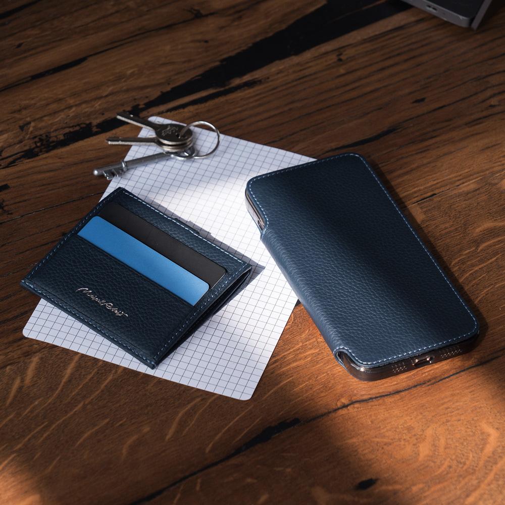 Чехол Benoit для iPhone 12 Pro Max из натуральной кожи теленка, цвета синий мат