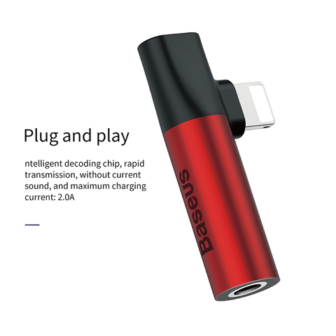 Переходник Baseus iP to iP & 3.5mm audio jack L43 Red-black