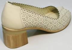 Женские туфли на широком каблуке летние Sturdy Shoes 87-43 24 Lighte Beige.