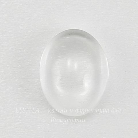 Кабошон овальный прозрачное стекло, 14х10 мм ()