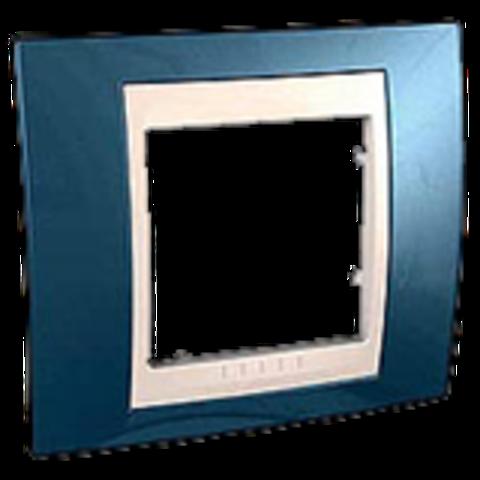 Рамка на 1 пост. Цвет Голубой лёд/белый. Schneider electric Unica Хамелеон. MGU6.002.854