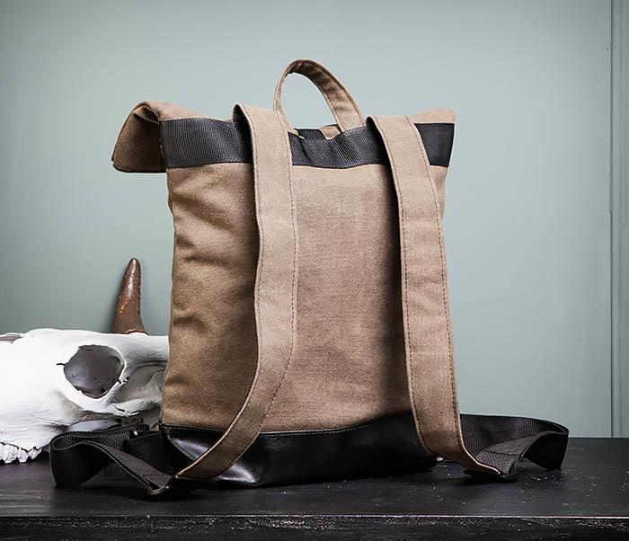 BAG460-2 Мужской городской рюкзак из текстиля коричневого цвета фото 07
