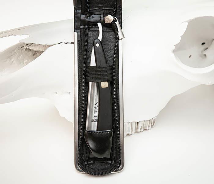 RAZ441-2 Опасная бритва TITAN с рукояткой из темного дерева фото 02