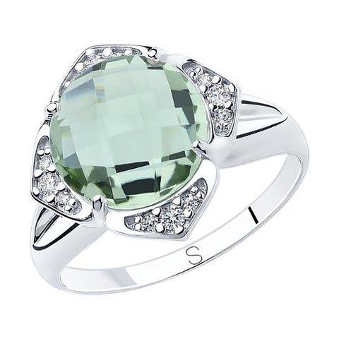 92011818 - Кольцо из серебра с кварцем и фианитами