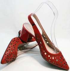 Женские туфли босоножки с открытой пяткой на каблуке G.U.E.R.O G067-TN Red