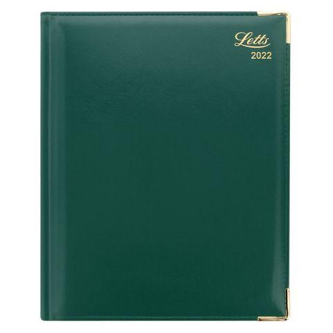 Еженедельник Letts Lexicon A4 (412 128150) белые стр золотой срез уголки металл зеленый