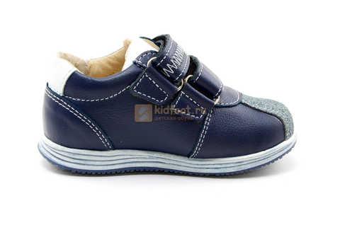 Ботинки для мальчиков Лель (LEL) из натуральной кожи на липучках цвет синий. Изображение 4 из 16.