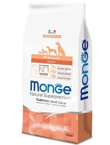 15 кг. MONGE Сухой корм для собак всех пород с лососем и рисом Dog Speciality Adult Salmone
