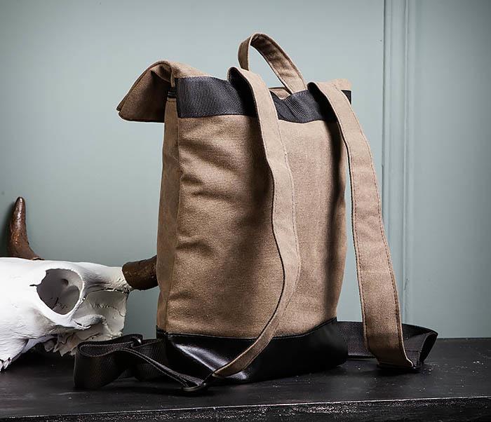 BAG460-2 Мужской городской рюкзак из текстиля коричневого цвета фото 08