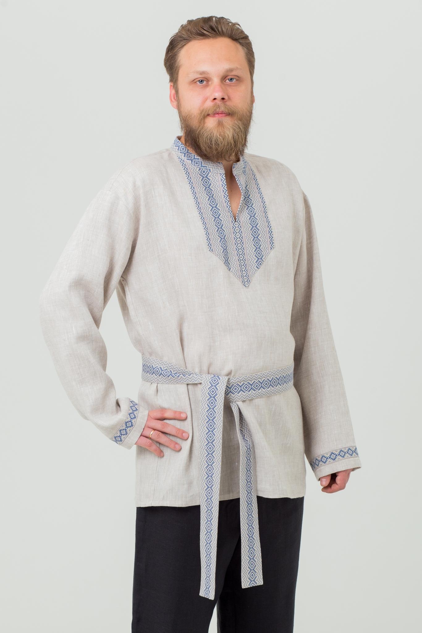 Мужская льняная рубаха Льняной дождь купить