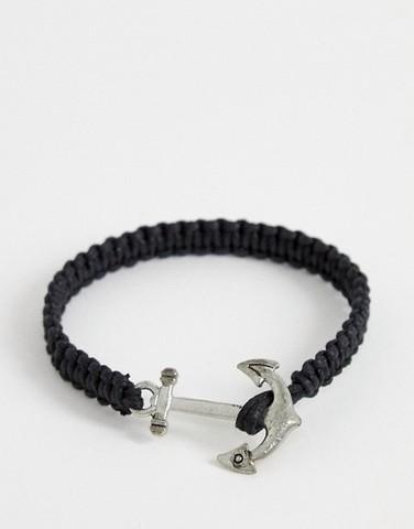 Черный браслет с якорем