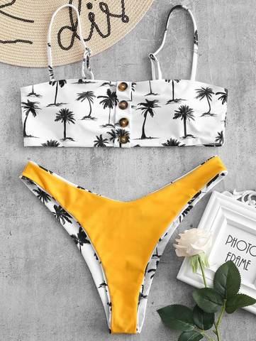 купальник раздельный бандо с лямками белый с пальмами 3