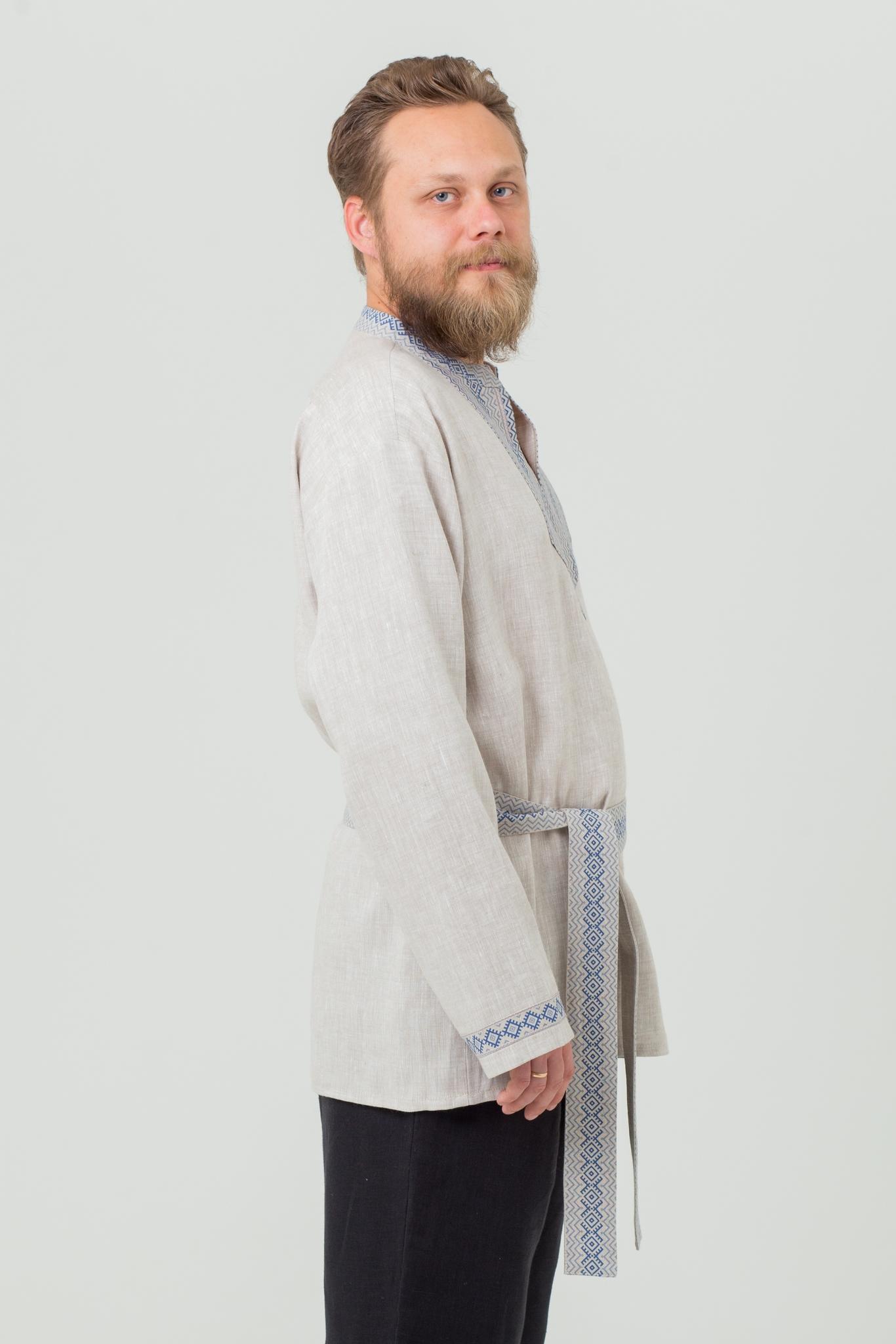 Льняная рубаха в русском стиле Льняной дождь