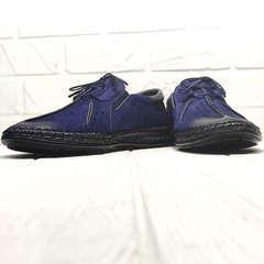 Синие туфли мужские business casual стиль Luciano Bellini 91268-S-321 Black Blue.