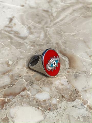 Кольцо-печатка Око из серебра с красной эмалью