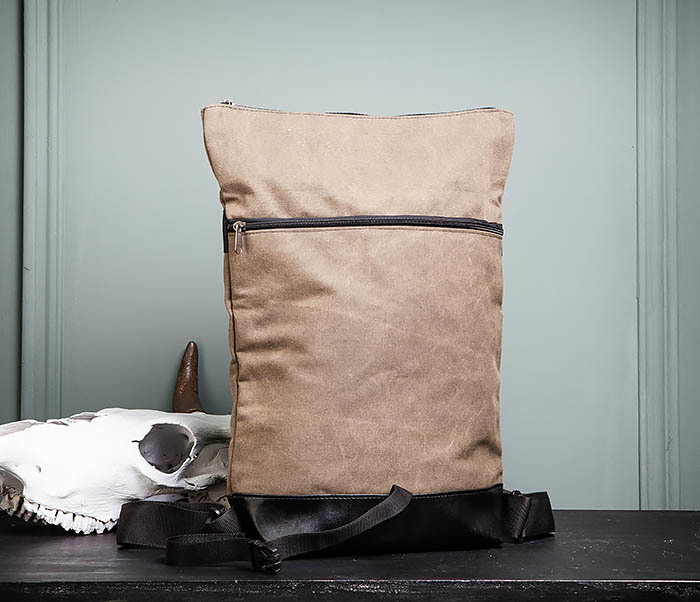 BAG460-2 Мужской городской рюкзак из текстиля коричневого цвета фото 10